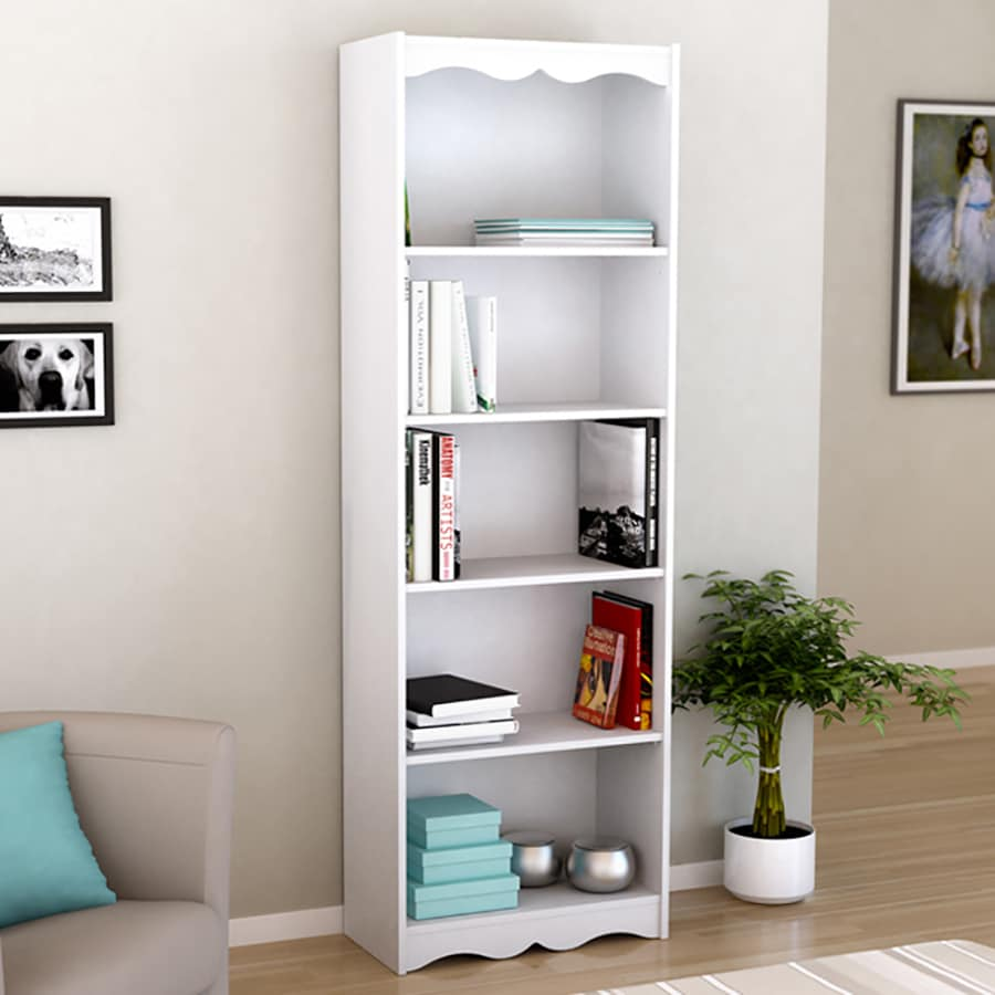 CorLiving Hawthorn Frost White 5 Shelf Bookcase