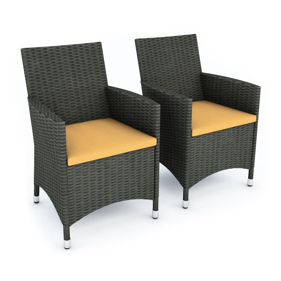 CorLiving Cascade 2-Count River Rock Black Wicker Patio Conversation Chairs