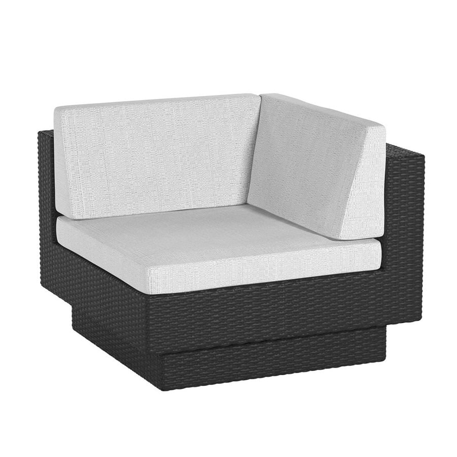 CorLiving Park Terrace Textured Black Wicker Patio Conversation Chair