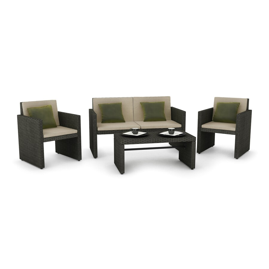 CorLiving Creekside 4-Piece Wicker Patio Conversation Set