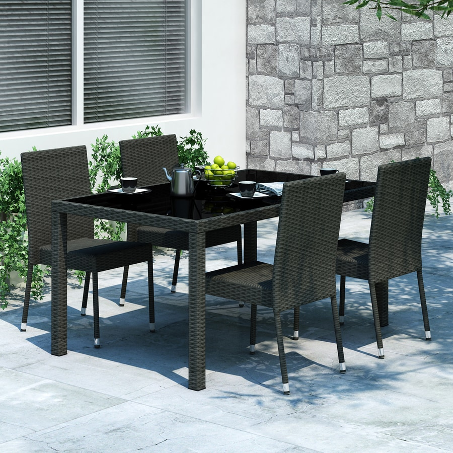 Kitchen Table And Chairs Homebase: Shop CorLiving Park Terrace 5-Piece Black Wood Frame