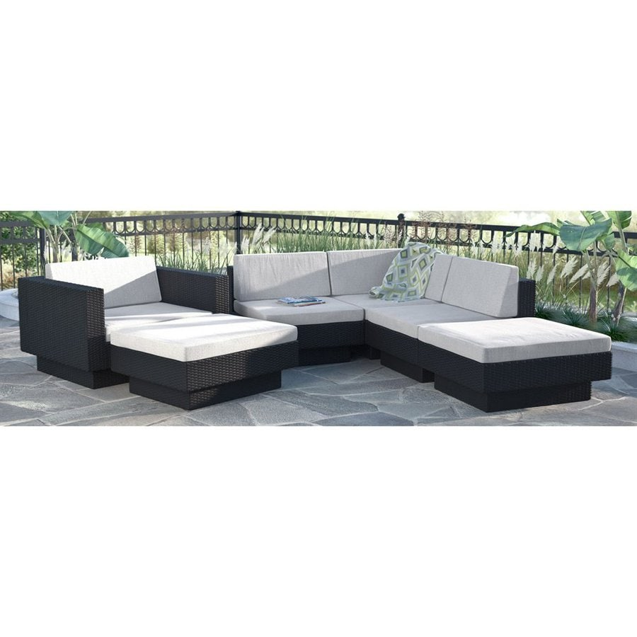 CorLiving Park Terrace 6-Piece Wicker Patio Conversation Set