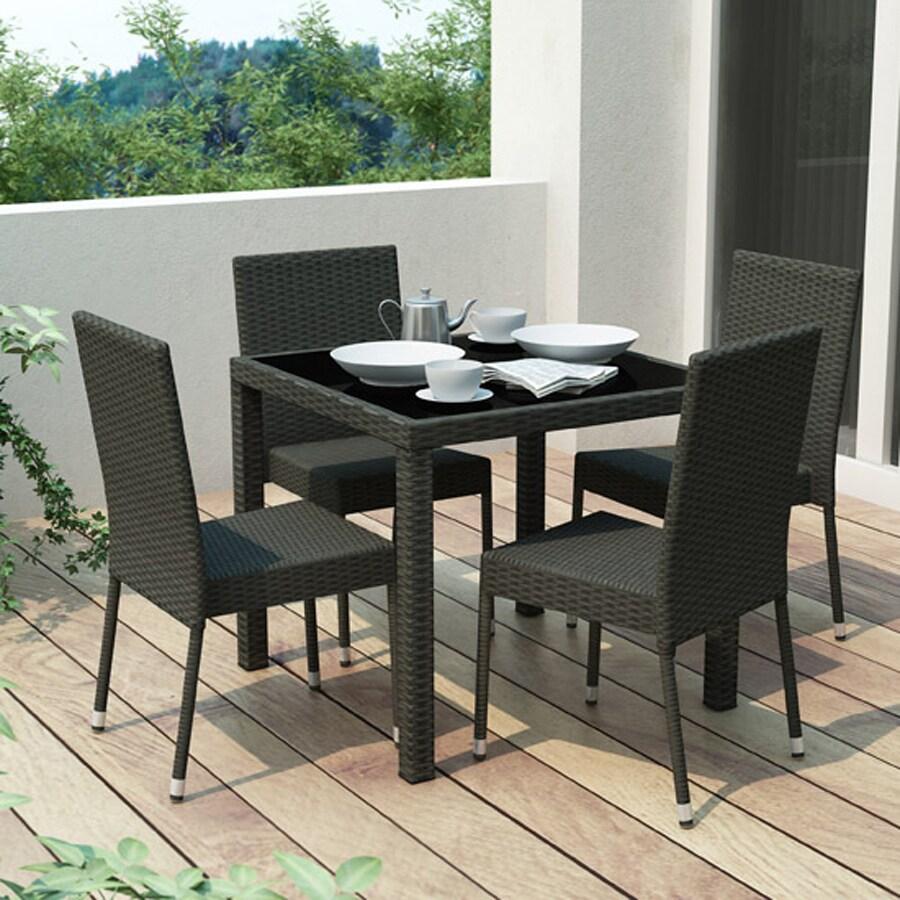 CorLiving Park Terrace 5-Piece River Rock Black Glass Patio Dining Set