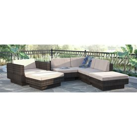 CorLiving Park Terrace 6 Piece Wicker Frame Patio Conversation Set With  Coral Sand Cushions