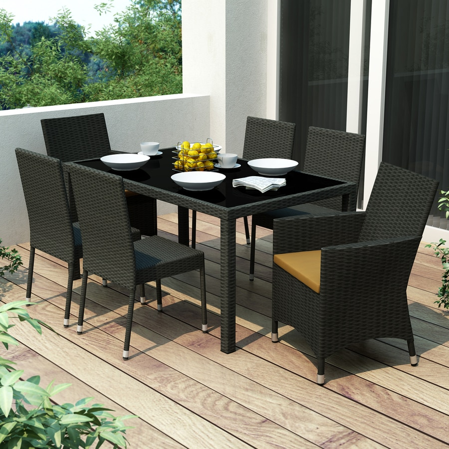 CorLiving Park Terrace 7 Piece Black Wood Frame Wicker Patio Dining Set  With Sunset Yellow