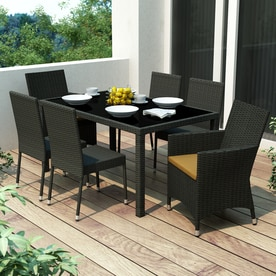 CorLiving Park Terrace River Rock Black Glass Patio Dining Set
