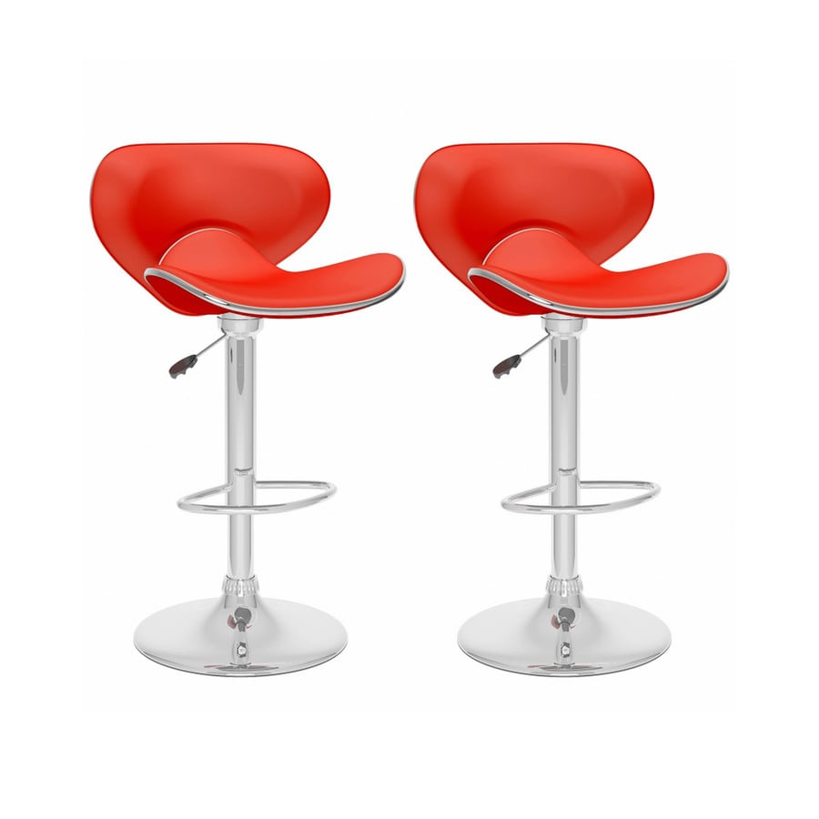 CorLiving Set of 2 CorLiving Red Leatherette 32.5-in Bar Stools