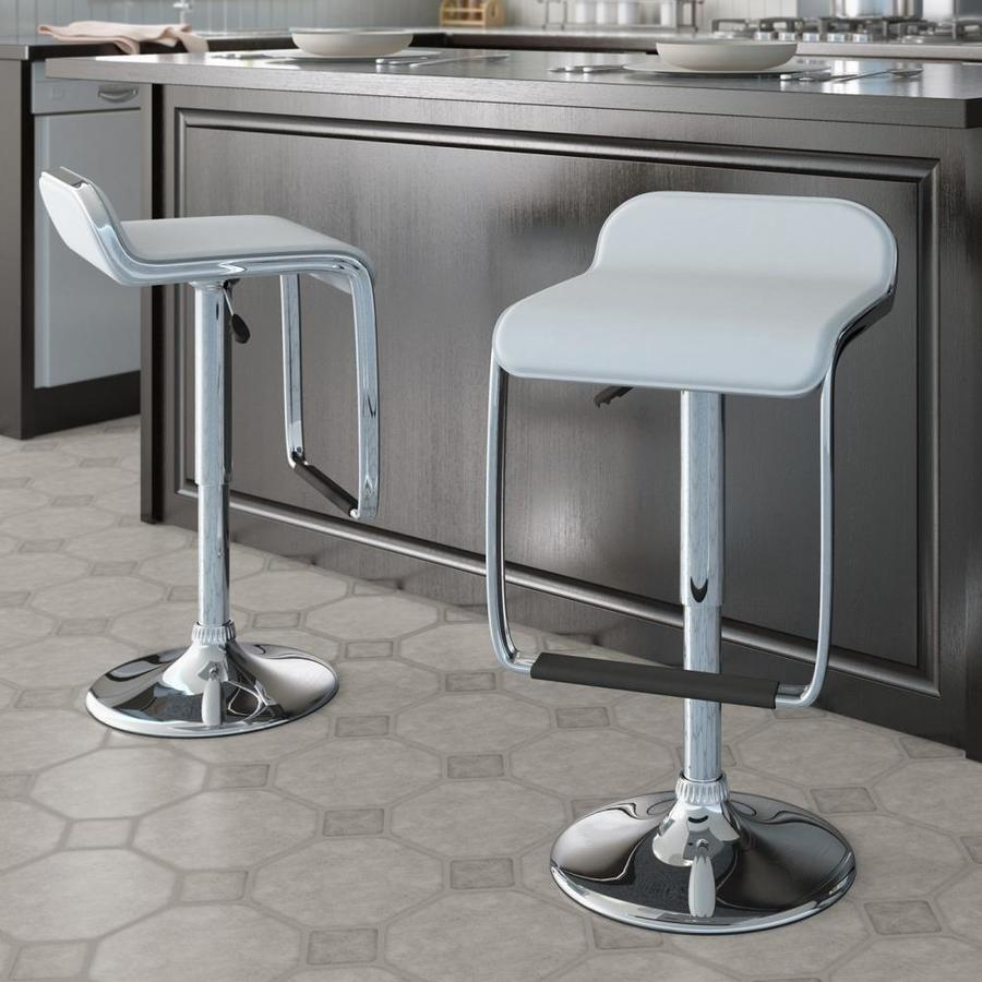 CorLiving Set of 2 CorLiving White Leatherette 32.25-in Bar Stools