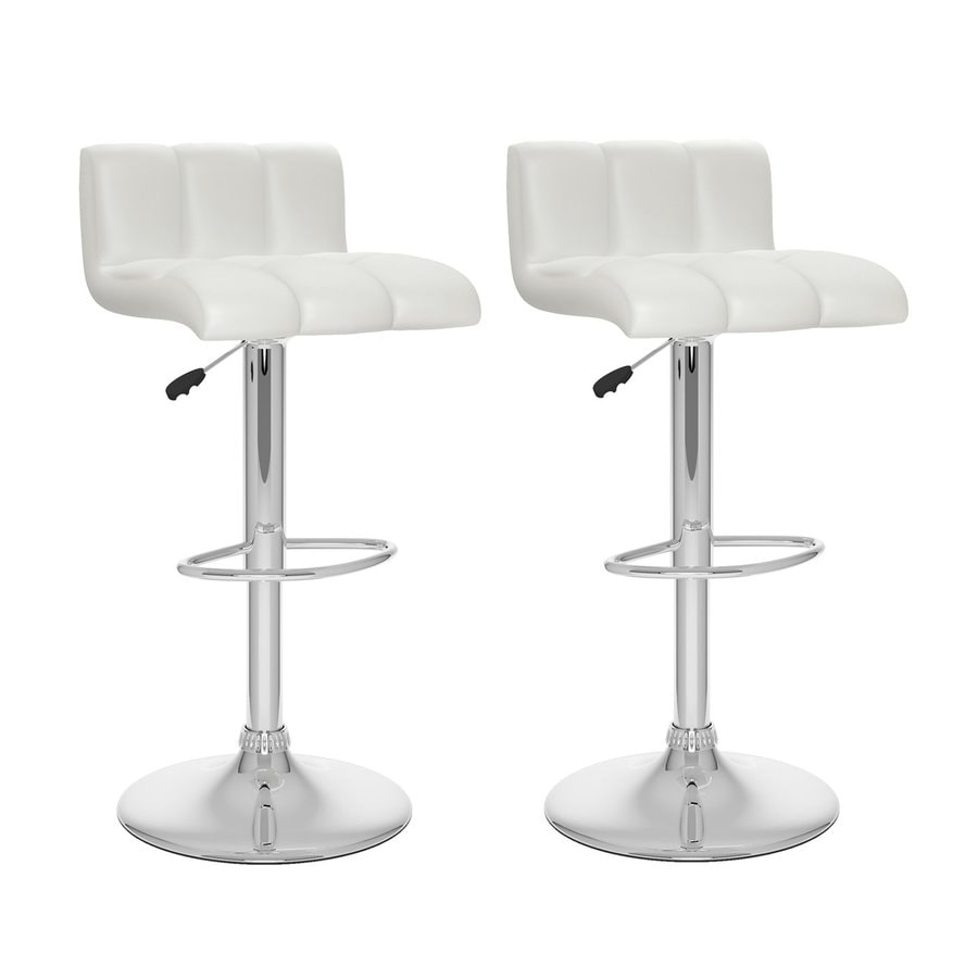 CorLiving Set of 2 CorLiving White Leatherette 33-in Bar Stools