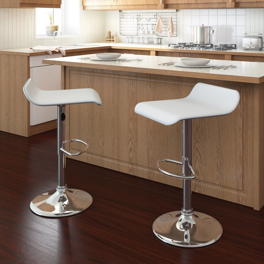Sonax Set of 2 CorLiving White Leatherette 30.75-in Bar Stools