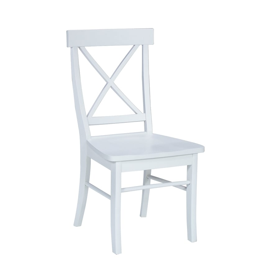 International Concepts Set of 2 Dining Essentials Linen White Side Chairs