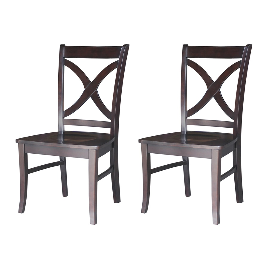 International Concepts Set of 2 Salerno Dark Walnut Side Chairs