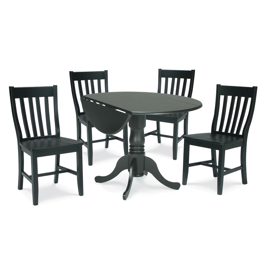 Shop international concepts black 5 piece dining set with for Black round dining table