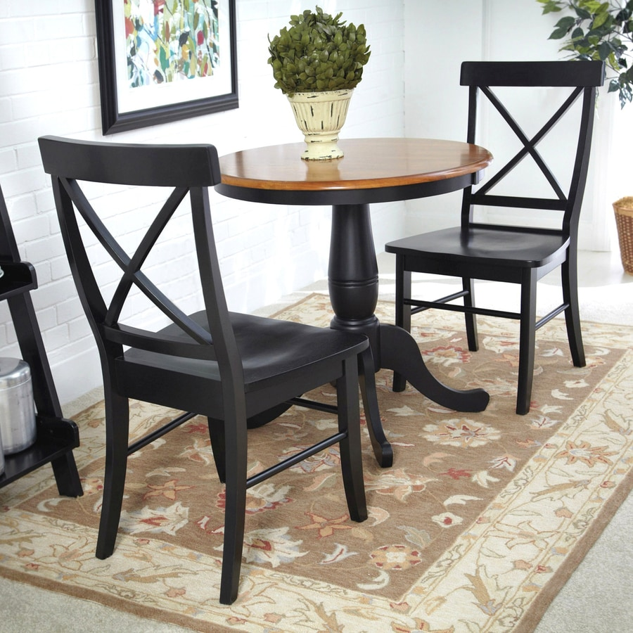 International Concepts Black/Cherry 3 Piece Dining Set With Round Dining  Table
