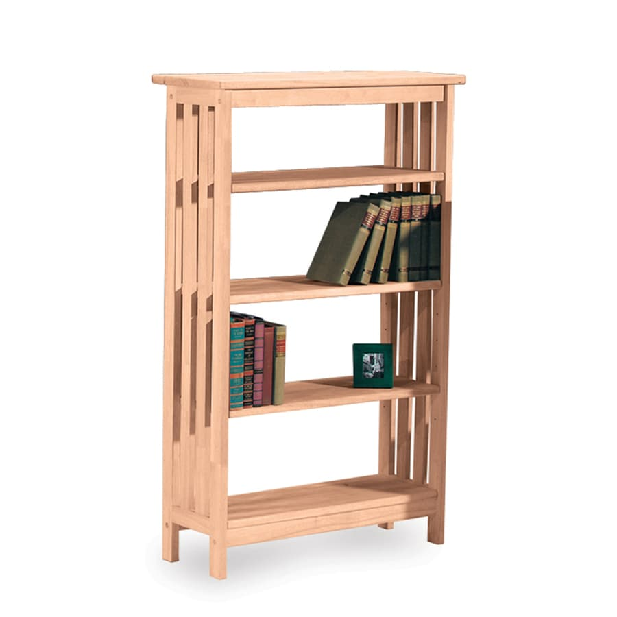 International Concepts Mission Natural 30-in W x 48-in H x 12-in D 4-Shelf Bookcase