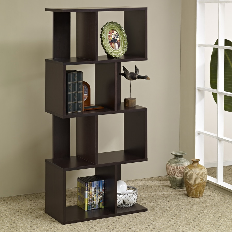 Enitial Lab Vina Walnut 24-in W x 53-in H x 12-in D 8-Shelf Bookcase