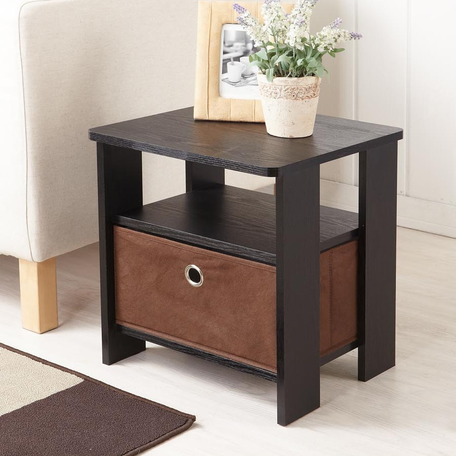 Enitial Lab Dolphi Black/Espresso Rectangular End Table