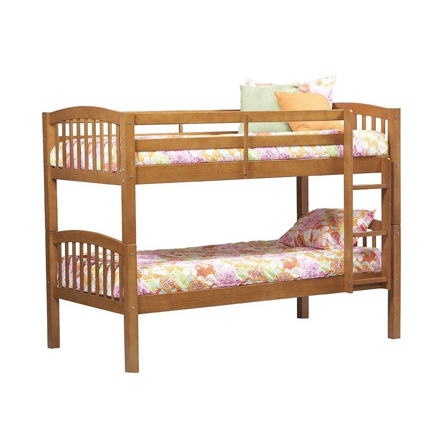 Linon Home Decor Pecan Twin Over Twin Bunk Bed At Lowes Com