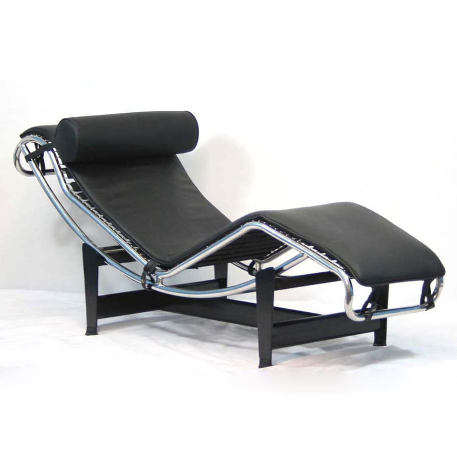 Shop modway le corbusier modern black leather chaise for Chaise leather lounges