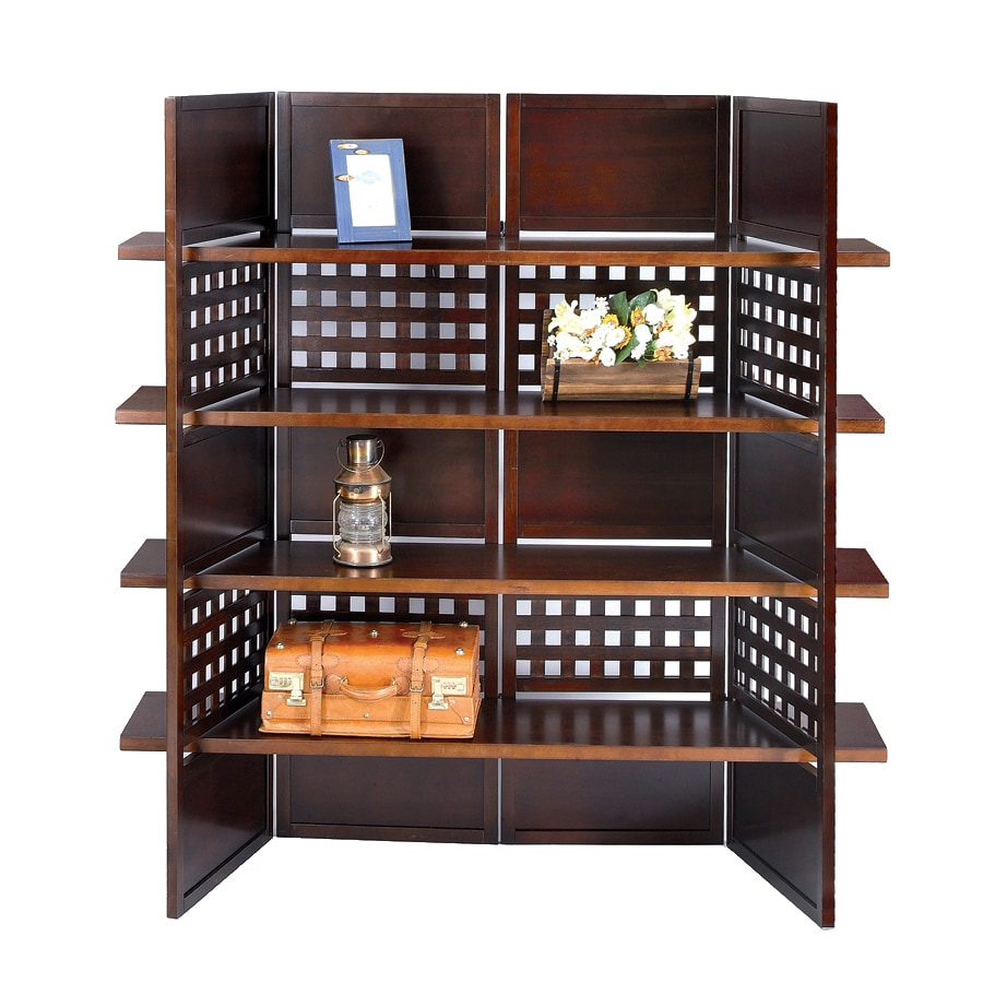 ORE International Walnut 57-in W x 58.75-in H x 14.75-in D 4-Shelf Bookcase