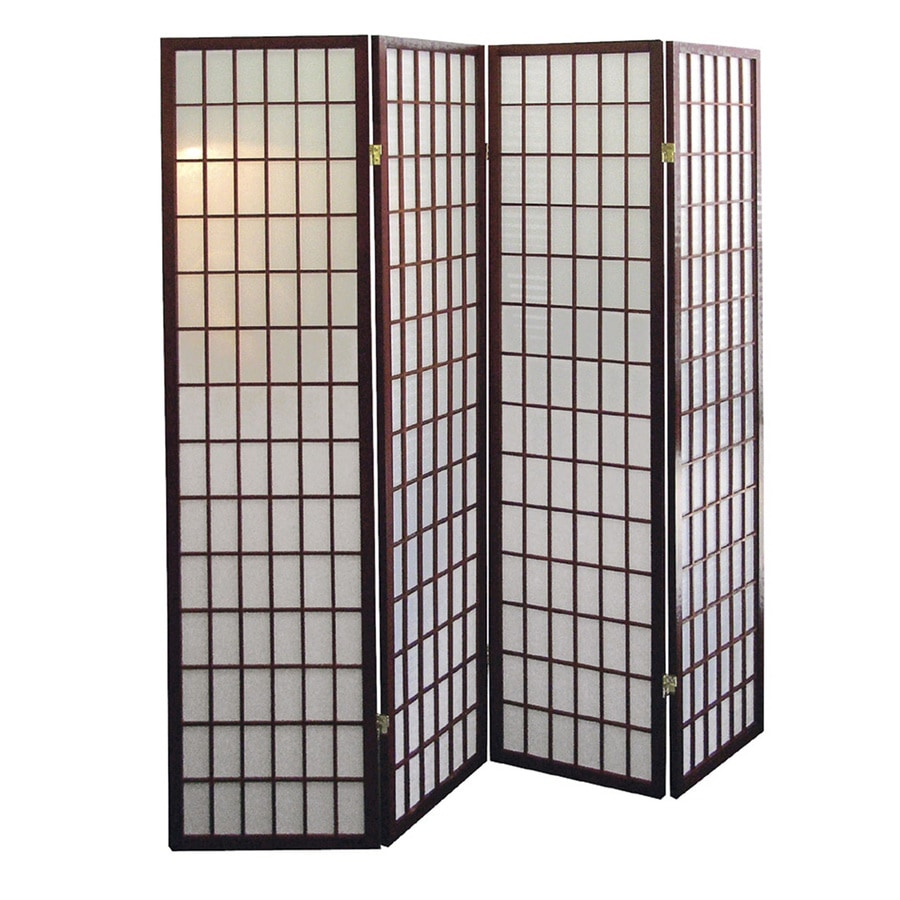 Shop ore international 4 panel cherry fabric folding indoor privacy screen at - Decorative partitions room divider ...