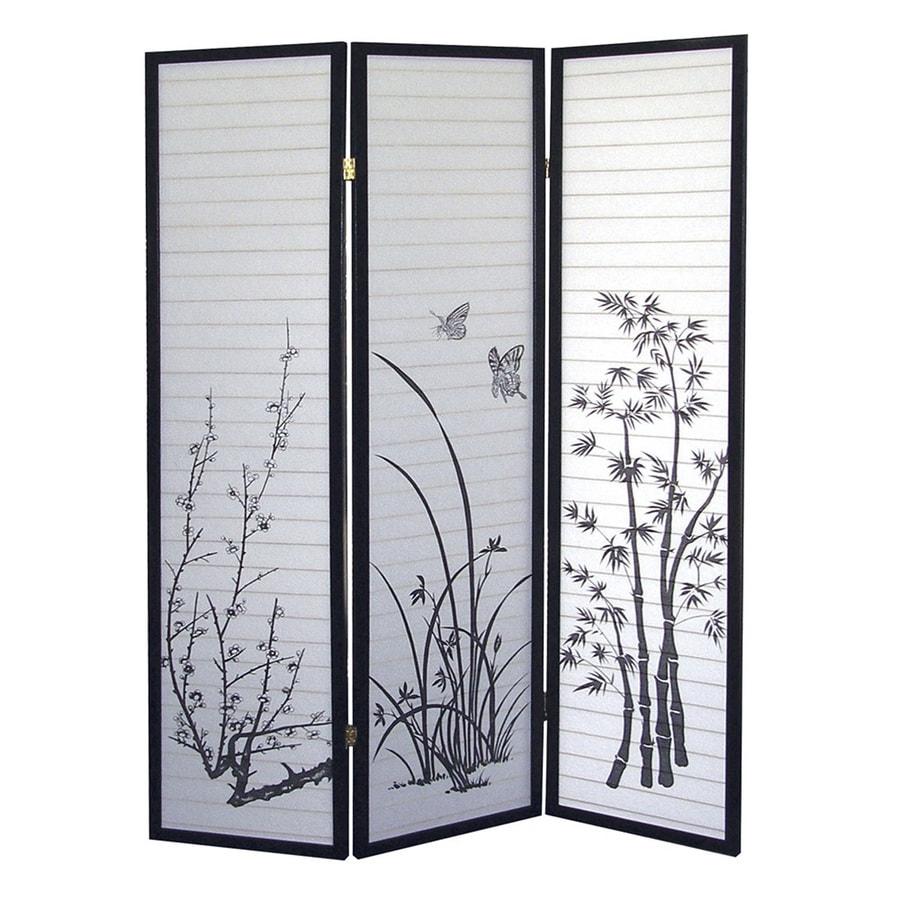 Shop ORE International 3 Panel Black Fabric Folding Indoor Privacy