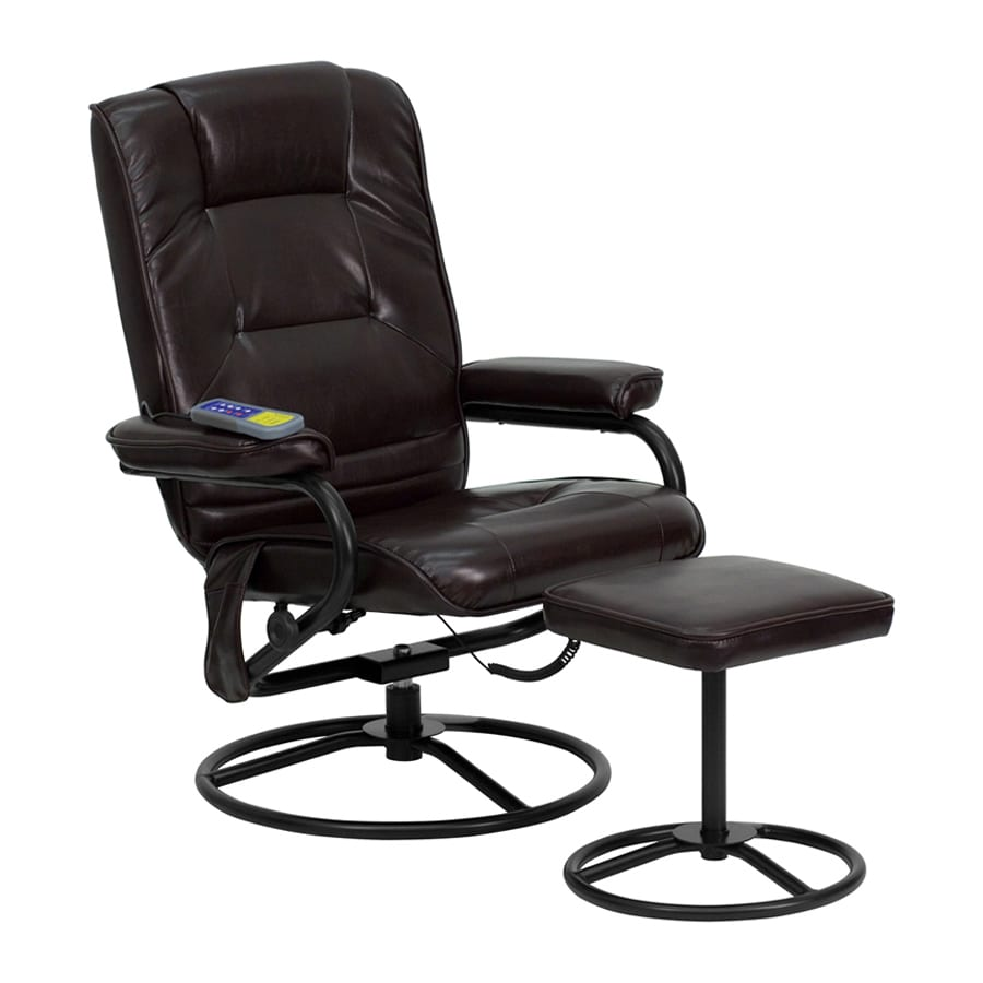 Flash Furniture Brown Faux Leather Swiveling Recliner