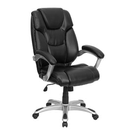 flash furniture black faux leather executive office chair - Gray Leather Office Chair