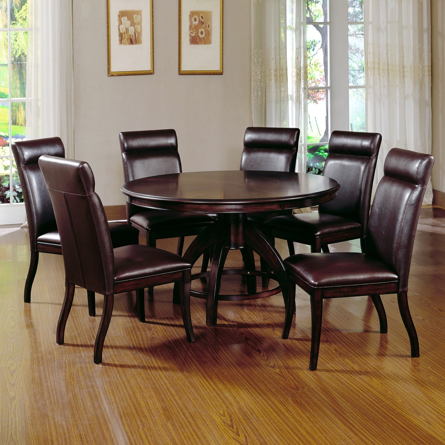 Hilale Furniture Nottingham Dark Walnut 7 Piece Dining Set With Round Table