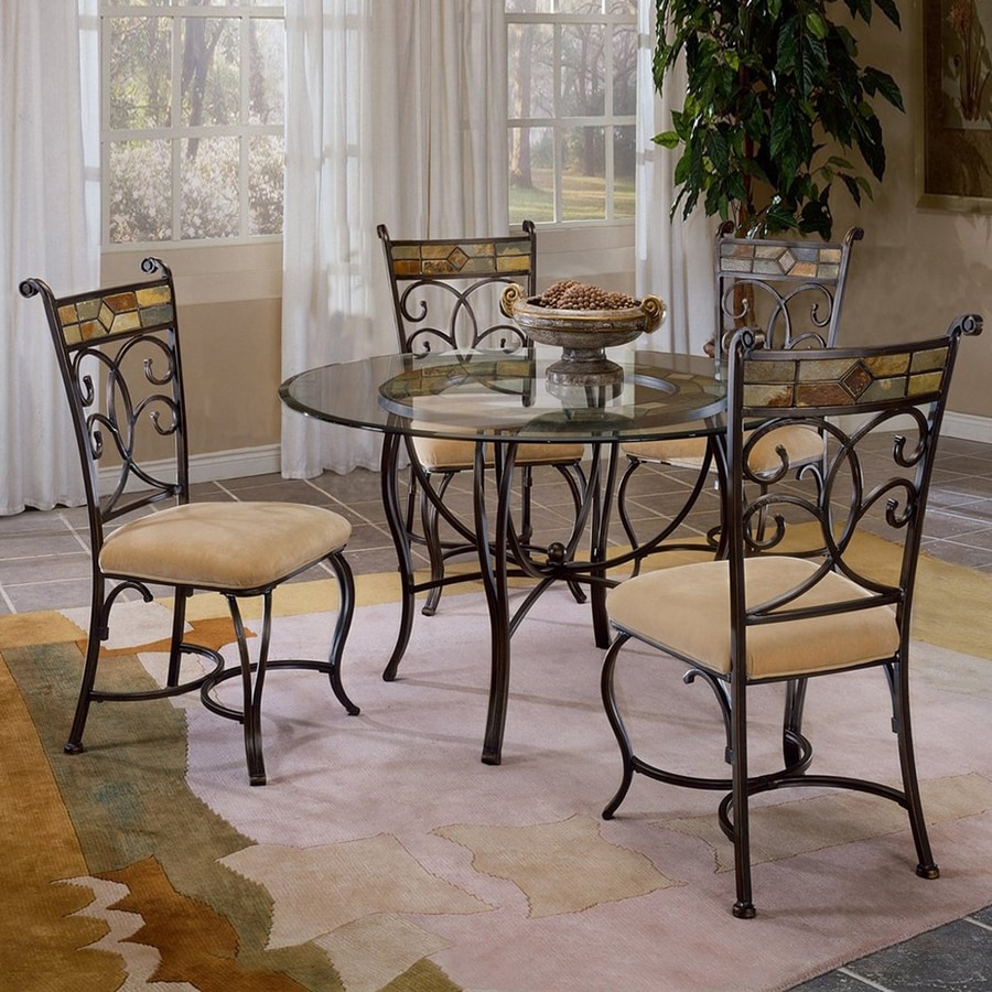 Hillsdale Furniture Pompei Black Gold Dining Set With Round Table