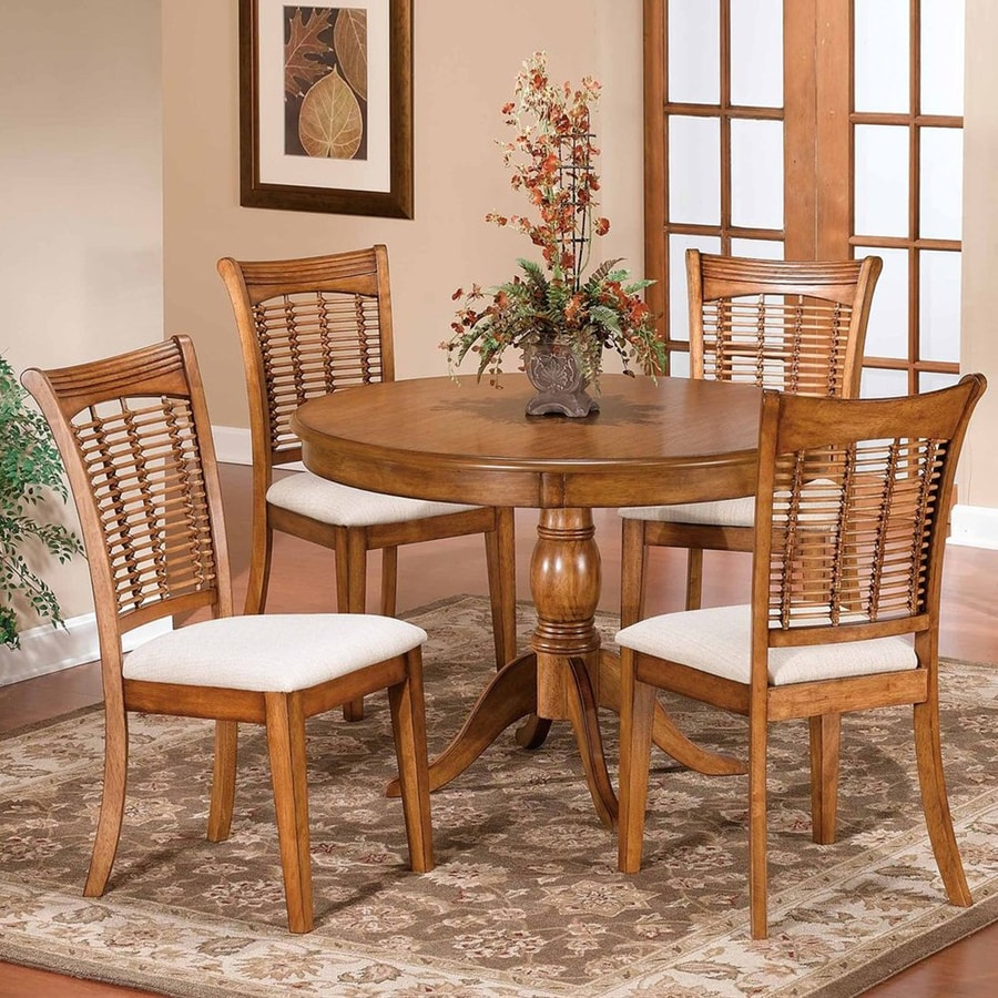 Hilale Furniture Bayberry Oak 5 Piece Dining Set With Round Table