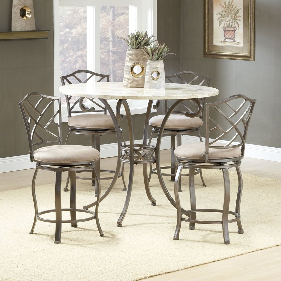 Hillsdale Furniture Brookside Brown Powder Coat 5-Piece Dining Set with Round Counter Height Table