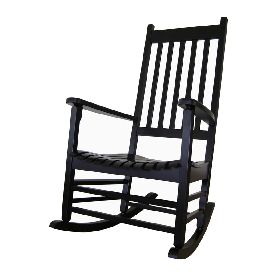 International Concepts Black Acacia Patio Rocking Chair