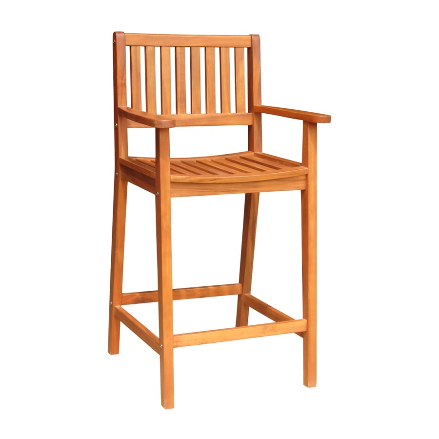 International Concepts Natural Acacia Patio Barstool Chair