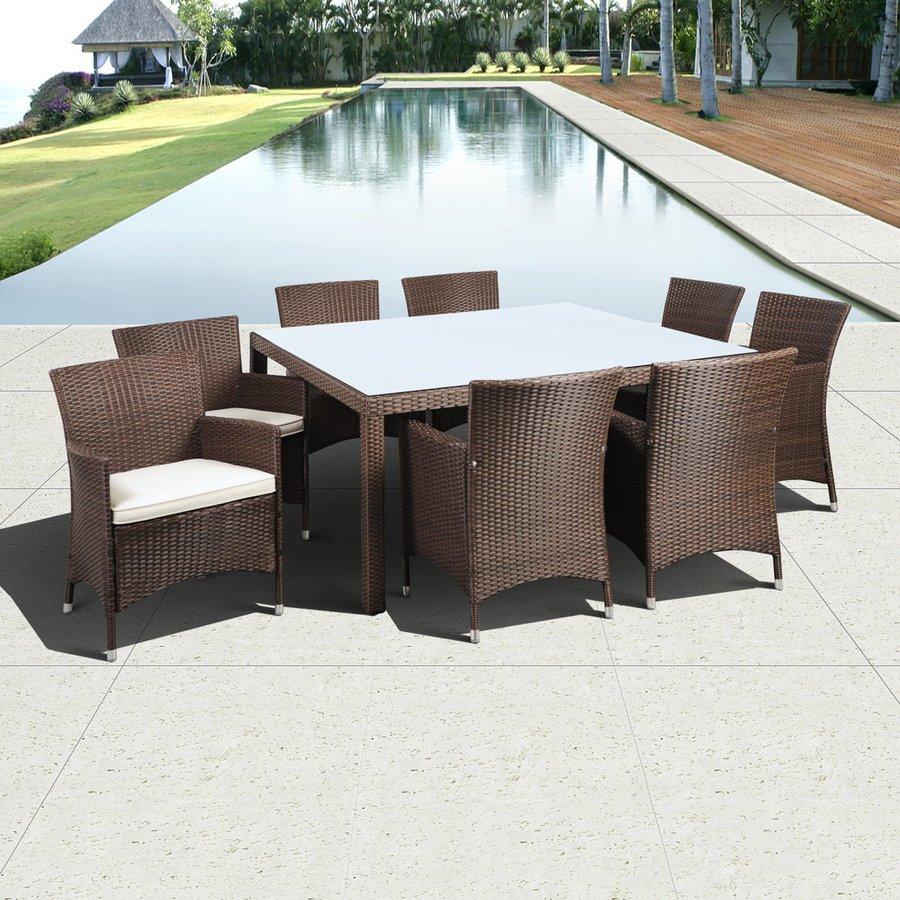 International Home Atlantic 9 Piece Brown Wood Frame Wicker Patio Dining Set  With Off