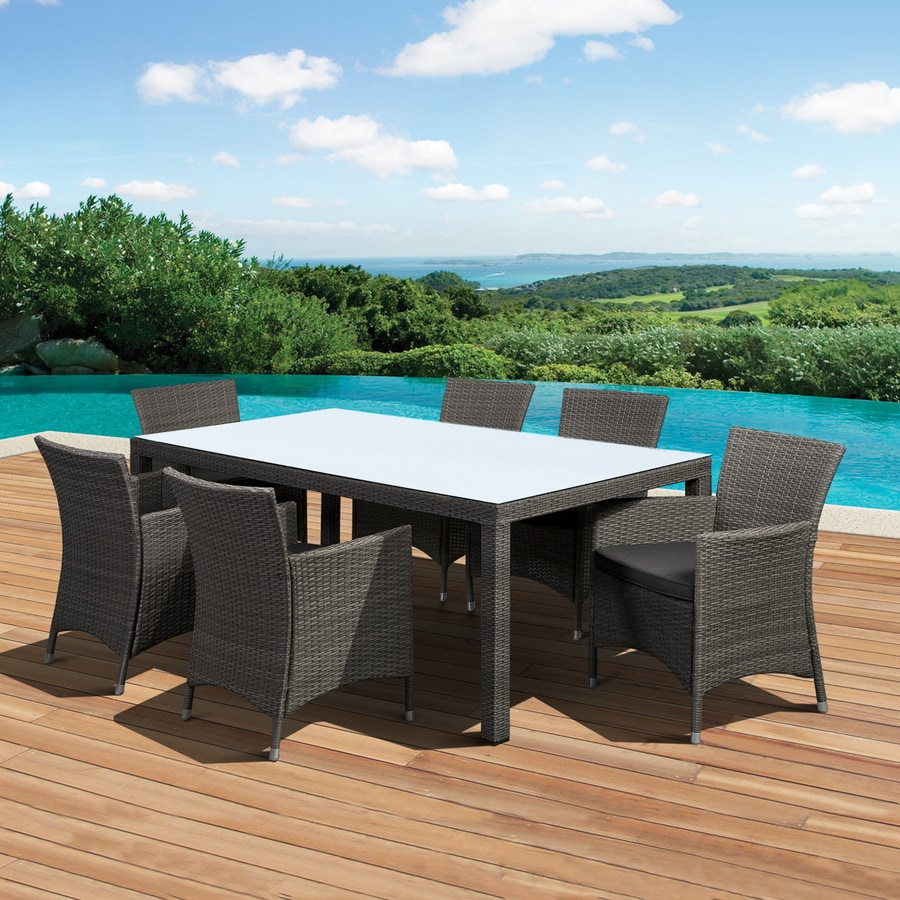 International Home Atlantic 7-Piece Grey Glass Tabletop Patio Dining Set