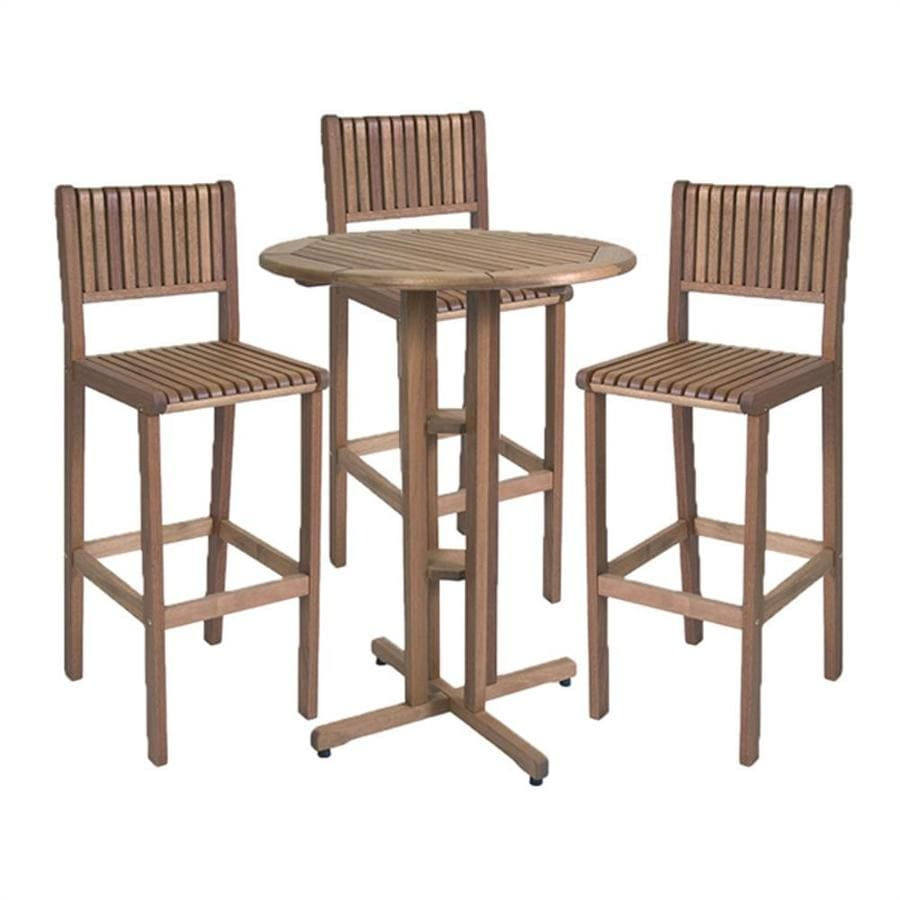 International Home Amazonia 4-Piece Brown Eucalyptus Bar Patio Dining Set