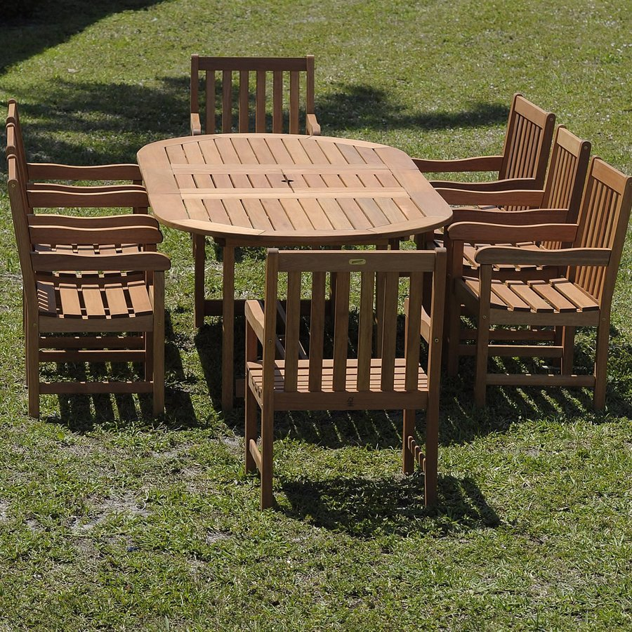 International Home Amazonia 9-Piece Brown Eucalyptus Dining Patio Dining Set