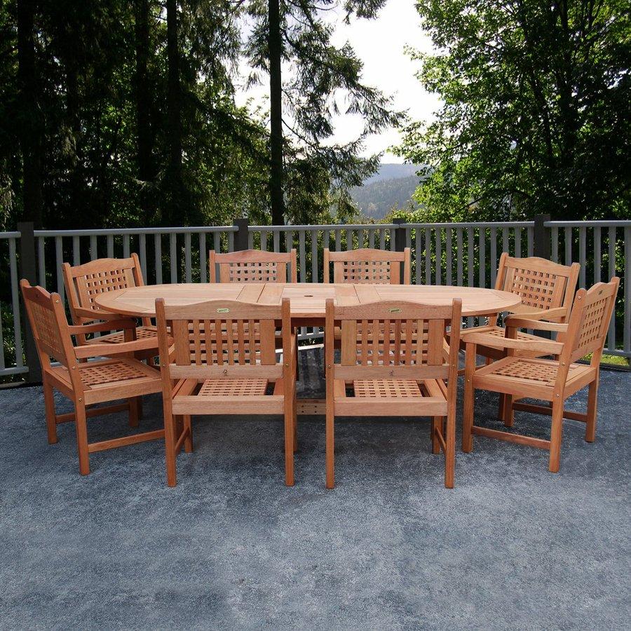 International Home Amazonia Milano Grand Extendable Porto 9-Piece Brown Eucalyptus Patio Dining Set