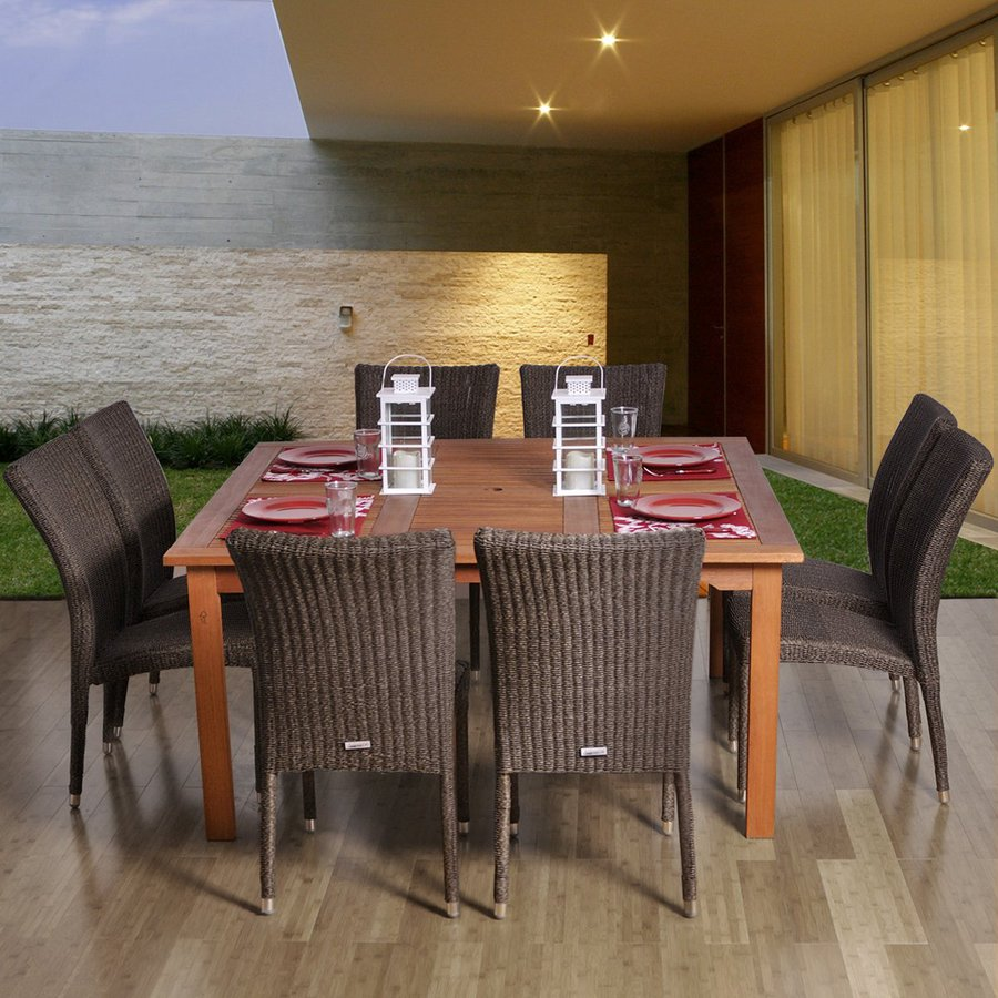 International Home Amazonia 9-Piece Brown Wicker Wicker Dining Patio Dining Set