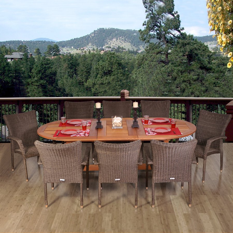International Home Amazonia 9-Piece Brown Eucalyptus Patio Dining Set