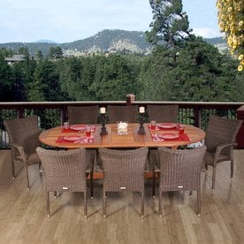 home amazonia 9piece brown wicker wicker dining patio dining set