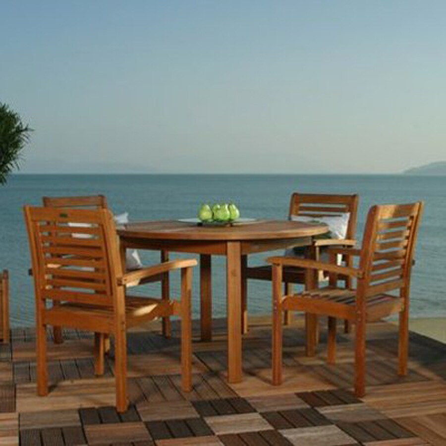 International Home Amazonia 5 Piece Brown Wood Frame Patio Dining