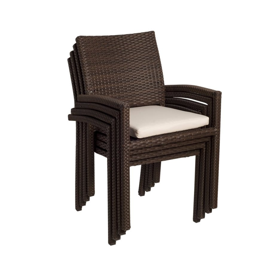 International Home Atlantic 4 Count Brown Aluminum Wicker Stackable Patio  Dining Chair With Off