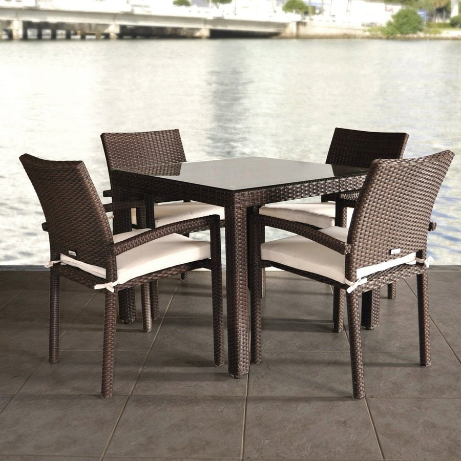 International Home Atlantic Atlantic Liberty 5-Piece Dark Brown Glass Patio Dining Set