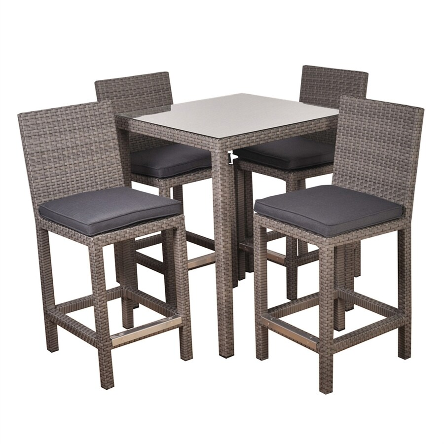 International Home Atlantic 5-Piece Dark Brown Glass Tabletop Bar Patio Dining Set