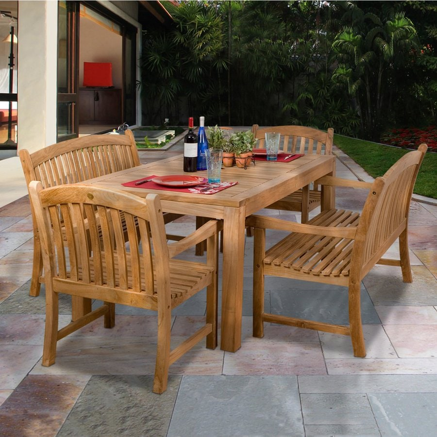 International Home Amazonia Geneve Teak 5-Piece Teak Patio Dining Set