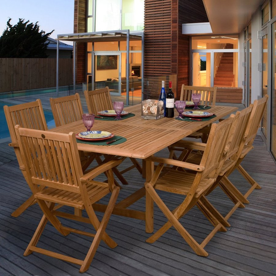 Home Amazonia Teak 9 Piece Teak Patio Dining Set At
