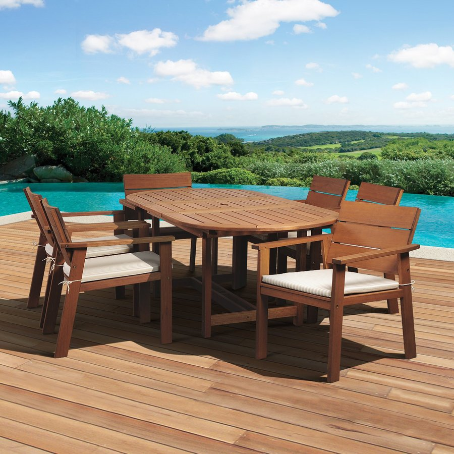 International Home Amazonia 7-Piece Brown Eucalyptus Dining Patio Dining Set with Cushion(s) Included