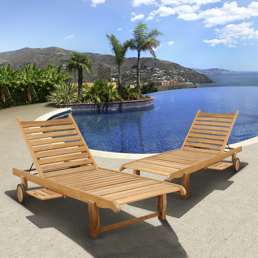 Shop international home amazonia teak 2 count light brown for Pool and patio furniture